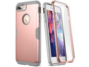 Case for iPhone 8 Plus amp iPhone 7 Plus Rose Gold Full Body with Builtin Screen Protector Heavy Duty Protection Slim Fit Shockproof Cover for Apple iPhone 8 Plus 2017 55 Inch RGGrey