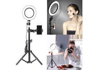 Ring Light with Stand and Phone Holder  Selfie Ring Light with Tripod for Video Photography Makeup Live Streaming YouTube Lighting (A(6.3''Ring Light & 20''Tripod))