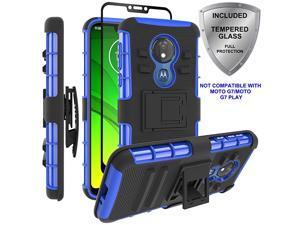 Moto G7 Power CaseMoto G7 Supra Case  Military Grade Protection with Tempered Glass Screen Protector Holster Belt Clip Amor Case for Motorola Moto G7 PowerSupra Blue