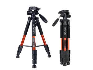 Q111 Aluminium Camera Tripod 55 Lightweight with Phone Holder Mount for YouTube Phone Live Broadcast Projector Gopro Tablet and Canon Nikon Sony SLR Camera Video with Carry Case Orange