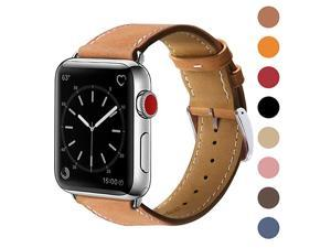 Compatible with Apple Watch Band 42mm 44mm, Genuine Leather Replacement Band Compatible with Apple Watch SE Series 6 5 4 (44mm) Series 3 2 1 (42mm), Brown Band/Silver Adapter