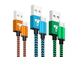 Micro USB Cable  Fast Android Charging Cord 6FT 3Pack Charging Cable Braided Charger Cord for Samsung Galaxy S7 Edge S6 S5 S2 J7 J7V J5 J3 J3V J2 LG K40 K30 K20 Moto E4 E5 Tablet PS4 Xbox