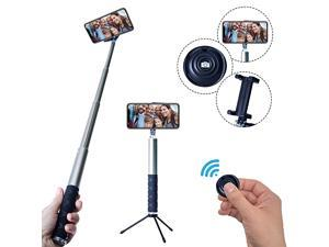 Bluetooth Selfie Stick Tripod with Remote Compatible with iPhone 6 6s and 7 plus Android Samsung Galaxy S7 S8 Plus Edge CompactExtendable Aluminum Monopod for Photo and Video Use Gray