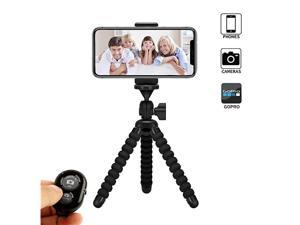 Phone Tripod  Flexible PhoneCamera Tripod Mount Stand Holder with Wireless Remote Shutter and Universal Clip Compatible with iPhone Android Phone Camera and GoPro 2019 Upgraded