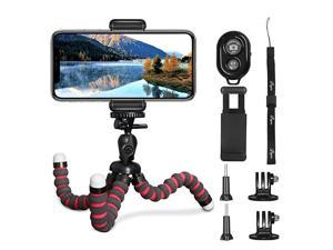 Phone Tripod  5 in 1 Flexible Octopus Tripod Stand + 2PCS Tripod Adapter for Gopro + Phone Mount Holder + Bluetooth Wireless Remote Shutter Compatible for iPhone Samsung Gopro Sports Camera