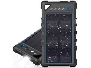 Portable Solar Charger  10000mAh UltraCompact External Batteries with Dual USB Ports Solar Power Bank with Flashlight for Camping Outdoor Activities