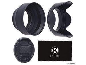 Set of 2 Camera Lens Hoods and 1 Lens Cap Rubber Collapsible + Tulip Flower Sun ShadeShield Reduces Lens Flare and Glare Blocks Excess Sunlight for Enhanced Photography and Video Foo
