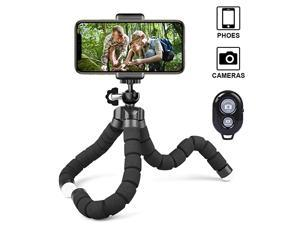 Flexible Phone Tripod with Wireless Selfie Remote Shutter Portable and Adjustable Phone Tripod Stand with Universial Phone Clip Mini Tripod Stand Holder Compatible with iPhoneAndroid Samsung