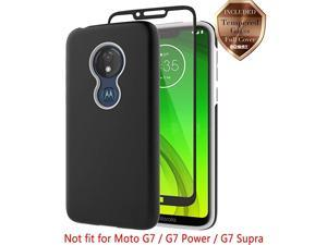Moto G7 Play Case with  Tempered Glass Screen Protector Hard Back Cover + Soft TPU Shockproof Inner Protective Case for Motorola Moto G7 Play Black