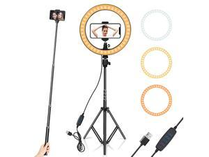 """Light 10"""" with Tripod Stand & Phone Holder for YouTube Video, Desktop Camera Led Light for Streaming, Makeup, Selfie Photography Compatible with iPhone Android"""