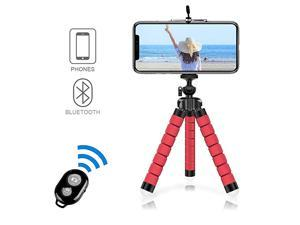 Portable Tripod Mini Bluetooth Flexible Tripod with 360 Remote Control with 14 Screws for iPhone 88 Plus77 Plus Samsung Galaxy S7 S7 Edge Huawei Sony Xperia and etc up to 55Red