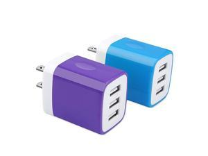USB Charger Plug  2Pack 31A 3Multi Port USB Wall Charger Brick Adapter Charging Block Cube Charger Box Compatible iPhone 11 ProXS MaxX876S Plus iPad Samsung Galaxy S20 FE 5G S10e S9 S8