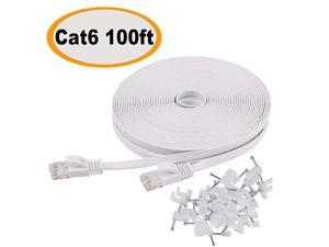 6 Ethernet Cable 100 ft Flat White Slim Long Internet Network Lan patch cords Solid 6 High Speed Computer wire with clips Rj45 Connectors for Router modem faster than 5e5 100 feet