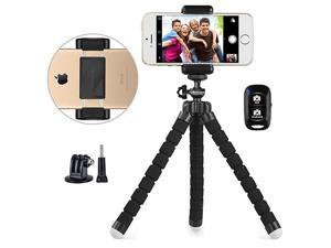 Phone Tripod  Portable and Adjustable Camera Stand Holder with Wireless Remote and Universal Clip Compatible with iPhone Android Phone Camera Sports Camera GoPro 2018 New Version