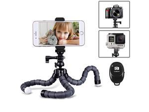Flexible Phone Tripod Portable Tripod with Wireless Remote Shutter and NonSlip Universal Clip Compatible with iPhoneSamsungAndroid Cell Phone Stand Tripod Holder for Camera GoProDSLR