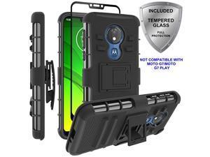 Moto G7 Power CaseMoto G7 Supra Case  Military Grade Protection with Tempered Glass Screen Protector Holster Belt Clip Amor Case for Motorola Moto G7 PowerSupra Black