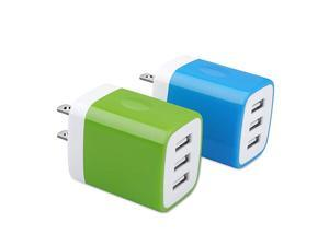 Charging Block USB Plug  31A 2Pack Muti Port USB Charger Cube Box Power Adapter Charging Brick Compatible iPhone 11 Pro XS Max X 8 7 6 Plus Samsung Galaxy S20 FE 5G S10e S10 S9 S8 Plus Moto