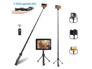 Stick Professional 45Inch Stick Tripod Extendable Stick with Wireless Remote and Tripod Stand for iPhone 6 7 8 X PlusSamsung Galaxy Note 9S9 Plus and More