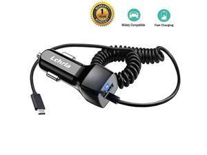 USB Car Charger, Type C Android Phone Car Adapter Built-In Curly Cable Compatible with Samsung Galaxy S8 S9 S10 Plus Note 9 8, LG G7/G6/G5/V40/V30/V20 Google Nexus