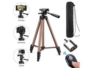 50 Inch Aluminum Tripod Video Tripod for Cellphone and Camera Universal Tripod with Wireless Remote Cellphone Holder Mount for All Smart Phone Gopro