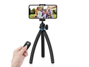 Phone Tripod 12 Inch Flexible Cell Phone Tripod Stand Holder with Wireless Remote Shutter Universal Phone Mount Compatible with iPhoneAndroidDSLRGoPro Camera