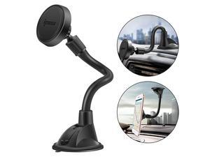 Long Arm Universal Magnetic Cradle Windshield Dashboard Cell Phone Mount Holder with 4 Metal Plates Soft Firm Goose Arm and Enhanced Suction Cup