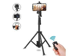 Stick Tripod 51 Extendable Tripod Stand with Cell Phone Mount Holder Wireless RemoteCompatible with iPhone XsX876 PlusSamsung Galaxy S9S8S7 PlusNote 8 GoproMore