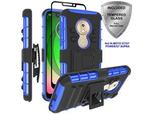 Moto G7 Play Case  Military Grade Protection with Tempered Glass Screen Protector Holster Belt Clip Amor Case for Motorola Moto G7 Play Blue