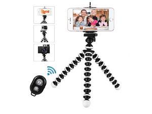Phone Tripod  Flexible Cell Phone Tripod Portable and Adjustable Camera Stand Holder with Wireless Remote Phone Clip Compatible with iPhone Android Phone Compact Digital Camera Gopro