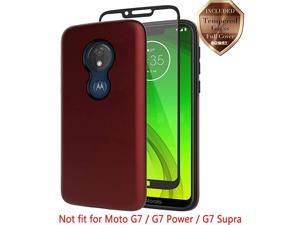 Moto G7 Play Case with  Tempered Glass Screen Protector Hard Back Cover + Soft TPU Shockproof Inner Protective Case for Motorola Moto G7 Play Red