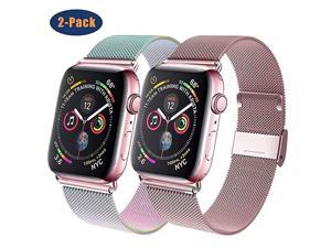 Compatible for Apple Watch Band 38mm 40mm 42mm 44mm Wristband Loop Replacement Band for Iwatch Series 5Series 4Series 3Series 2Series 1Colorful and RoseGold38mm40mm