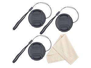 Camera Lens Cleaning Pen 3 Pack Universal Snap on Front Centre Pinch Lens Cover Set with Microfiber Lens Cleaning Cloth for Canon Nikon Sony Olympus DSLR Camera 46mm Lens Cap Bundle