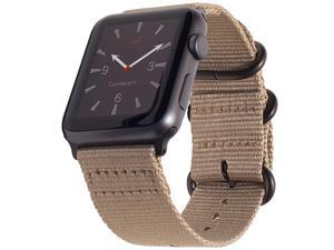 Compatible with Apple Watch Band XXL Nylon iWatch Band 42mm 44mm Replacement Strap Extra Long Large Wrists Lt Brown Canvas Military Style Hardware for Series 5 Series 4 3 2 1 42 XXL Tan