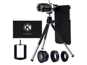 Camera Lens Kit Compatible with Apple iPhone 6 Plus 6S Plus ONLY 12x Telephoto Lens Fisheye Lens Macro Lens Wide Angle Lens Tripod Phone Holder Hard Case Velvet Bag Lens Kit