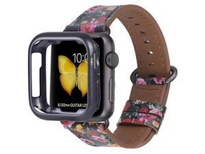 Compatible with Apple Watch Band 38mm 40mm with CaseWomen Genuine Leather Strap with Space Grey Adapter and Buckle for iwatch Series 54321 BlackRed Flowers