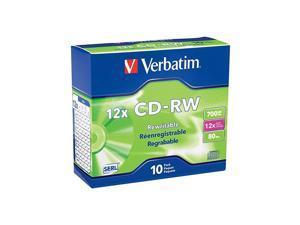 CDRW 700MB 2X12X Rewritable Media Disc 10 Pack Slim Case Silver 95156