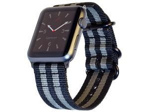 Compatible Apple Watch Nylon Band 42mm and New 44mm iWatch Band Replacement Strap NATO Woven Canvas Stripe Compatible Apple Watch Sport Nike Series 4 3 2 1 42 44mm SML Space GrayBlack