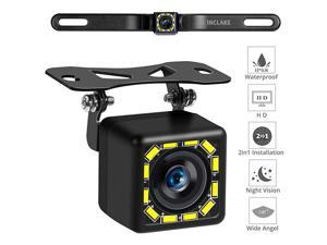 Backup Camera, Rear View Camera Ultra HD 12 LED Night Vision,Waterproof Reverse Camera 140° Wide View Angel with Multiple Mount Brackets for Universal s,SUV,Trucks,RV and More (HD)