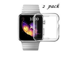 Clear Case for Apple Watch Series 3 38mm with Buit in TPU Screen Protector All Around Protective Case High Definition Clear UltraThin Cover for Apple iwatch 38mm Series 3 2 Pack