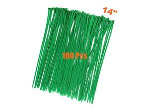 14 Inch Tree Grass Green Color Cable Ties 100 Pack Upgrade Industrial UV Resistant Durable Life Zip Ties Heavy Duty Cable Management for Large Objects Gardening Fence 14 inch 50LB Green