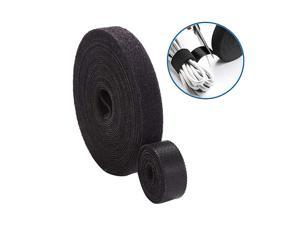 Fastening Tape Cable Ties Roll 3/5 Inch Double Side Hook Roll Hook and Loop Cord Management Wire Organizer Straps Black 12.6 Yard