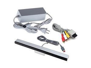 Wii Replacement Cables Set, Wii AC Power Adapter Block, AV Cable, and Wired Motion Sensor Bar for Wii
