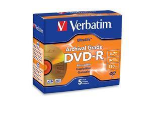 DVDR 47GB 8X UltraLife Gold Archival Grade Branded Surface Hard Coat 5pk Jewel Case 96320