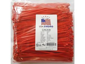 Ties. Standard Duty 7.6 Inch Premium Nylon Wire Management Zip-Ties. 50 LB Tensile Strength. USA Strong Ties (1000 Pack, Red)