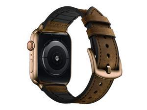 Compatible with Apple Watch Band 42mm 44mm Sweatproof Genuine Leather and Rubber Hybrid Band Strap Compatible with iWatch Series 6 5 4 3 2 1 SE Retro Dark Brown Band with Bronze Gold Adapter