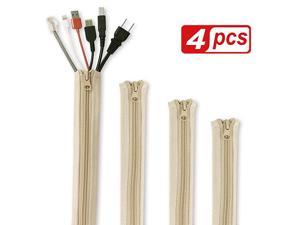 Cable Management Sleeve Organizer 19 Inch Home and Office Zipup Cable Sleeve Wire Organizer Flexible Cord Concealer Wrap Electrical Cord Covers for TVComputerDesk 4 Pieces Beige