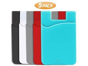 Phone Card Holder UltraSlim Credit Card Holder Adhesive Pocket Wallet Compatible with iPhone Samsung Huawei Sony All Smart Phones MultiColors5Pack