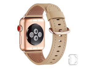 Compatible iWatch Band 40mm 38mm Top Grain Leather Band with Gold Adapter The Same as Series 543 with Gold Aluminum Case in Color for iWatch SE Series 65 4321 Camel Band+Rosegold Adapter