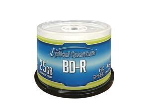 OQBDR06LT50 6X 25GB BDR Single Layer BluRay Recordable Blank Media Logo Top 50Disc Spindle