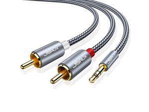 RCA Cable, [15ft/4.5M, Dual Shielded Gold-Plated] 3.5mm Male to 2RCA Male Stereo Audio Adapter Cable Nylon Braided AUX RCA Y Cord for Smartphones, MP3, Tablets, Speakers, HDTV [Grey]